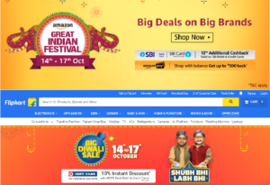 Diwali Greetings : Amazon Great Festival Sale and  Flipkart Big Diwali Sale