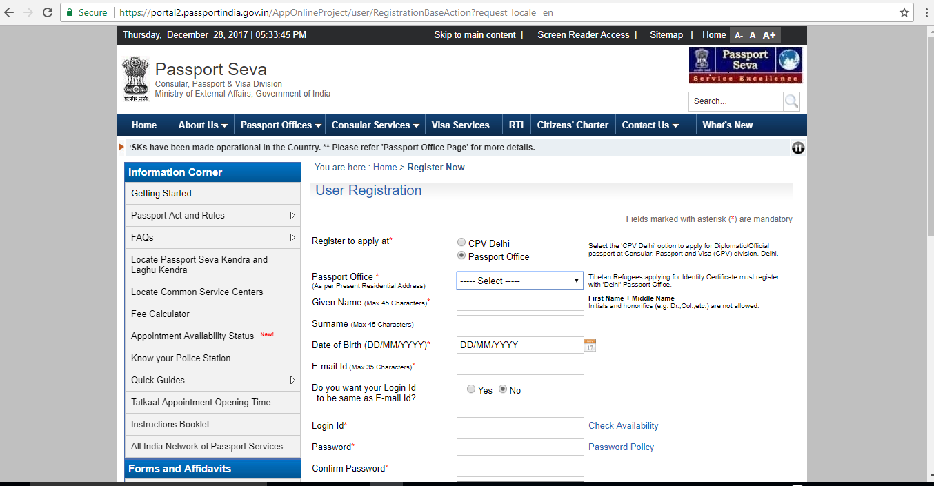 Register Form for Passport India website